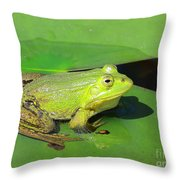 Green Frog Throw Pillow