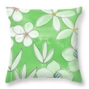 Green Garden Throw Pillow by Linda Woods