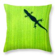 Green Gecko Leaf Throw Pillow