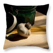 Green Glass And Garlic Throw Pillow