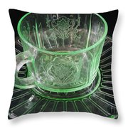 Green Glass Cup And Saucer Throw Pillow