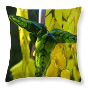 Green Glass Leaves Throw Pillow