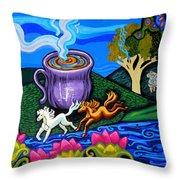 Green Goddess Coffee Throw Pillow