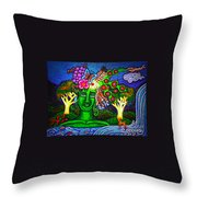 Green Goddess With Waterfall Throw Pillow