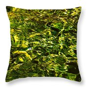Green Gold Water Abstract. Feng Shui Throw Pillow by Jenny Rainbow