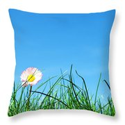 Green Grass And A Flower Throw Pillow