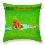 Green Grass Girl Throw Pillow