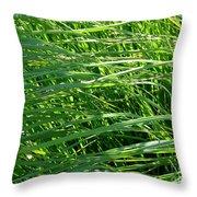 Green Grass Growing Throw Pillow