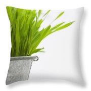 Green Grass In A Pot Throw Pillow