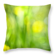 Green Grass With Yellow Flowers Abstract Throw Pillow