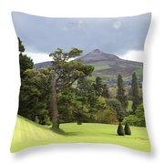 Green Green Garden And Mountain Throw Pillow