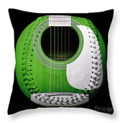 Green Guitar Baseball White Laces Square Throw Pillow