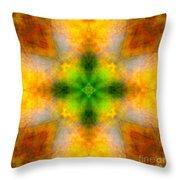 Green Heart Rainbow Light Mandala Throw Pillow