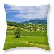 Green Hills Nature Panoramic View Throw Pillow