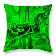 Green Horse Throw Pillow