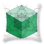 Green Hypercube Throw Pillow