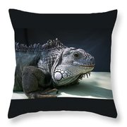 Green Iguana 1 Throw Pillow