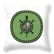 Green Indian Head Turtle Throw Pillow