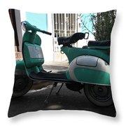 Green Vespa Throw Pillow