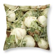 Green Kohlrabi Basket Display Throw Pillow