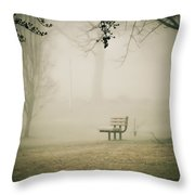 Green Lane On A Foggy Morning Throw Pillow