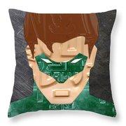 Green Lantern Superhero Portrait Recycled License Plate Art Throw Pillow