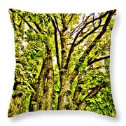 Green Leafy Trees Throw Pillow