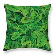 Green Leaves - V1 Throw Pillow