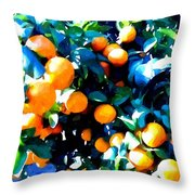 Green Leaves And Mature Oranges On The Tree Throw Pillow