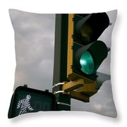 Green Light Walk Throw Pillow