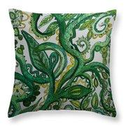 Green Meditation Throw Pillow