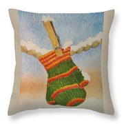 Green Mittens Throw Pillow