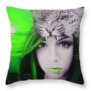 Green Moon Throw Pillow
