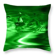 Green Multi Colored Water Drop Bubbling Throw Pillow