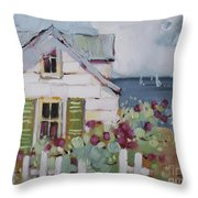 Green Nantucket Shutters Throw Pillow by Joyce Hicks
