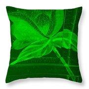 Green Negative Wood Flower Throw Pillow