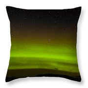 Green Northern Lights And Myriad Of Stars Throw Pillow