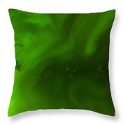 Green Northern Lights Night Sky Abstract Backdrop Throw Pillow