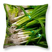 Green Onions Throw Pillow by Amy Cicconi
