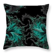 Green Paisley - A Fractal Abstract Throw Pillow