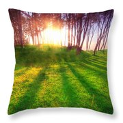 Green Park At Sunset Throw Pillow by Michal Bednarek