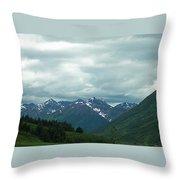 Green Pastures And Mountain Views Throw Pillow