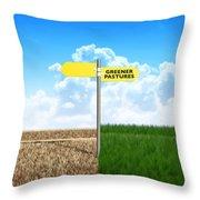 Green Pastures Sign Throw Pillow