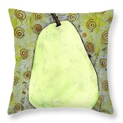 Green Pear Art With Swirls Throw Pillow by Blenda Studio