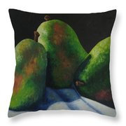Green Pears With Shadows Cast Throw Pillow