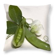 Green Peas In Pod With White Flower Throw Pillow