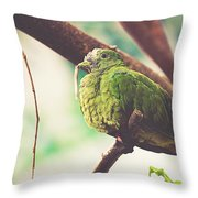 Green Pigeon Throw Pillow