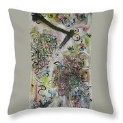 Green Pink Brown Abstract Art Spring Color Blossom Flower Butterfly Painting Abstract Acrylic Ink Ar Throw Pillow
