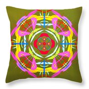Green Pink Yellow Abstract Throw Pillow