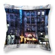Green Pipes Of Pompidou Center Paris Throw Pillow